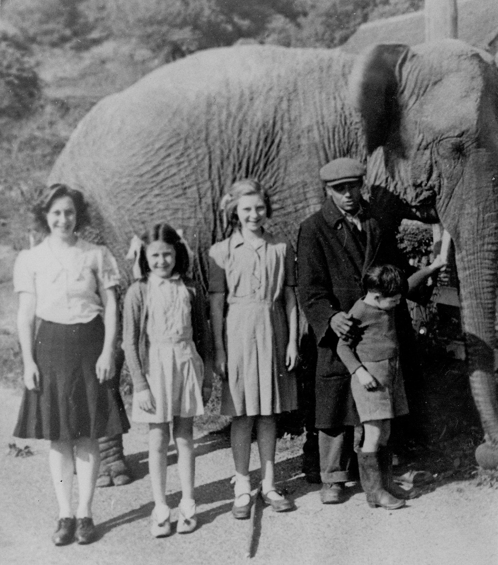 Joan Bayley, Ann Saunders, Fay Bayley and Bob Bayley with a passing circus elephant and keeper at Smithbrook in about 1947