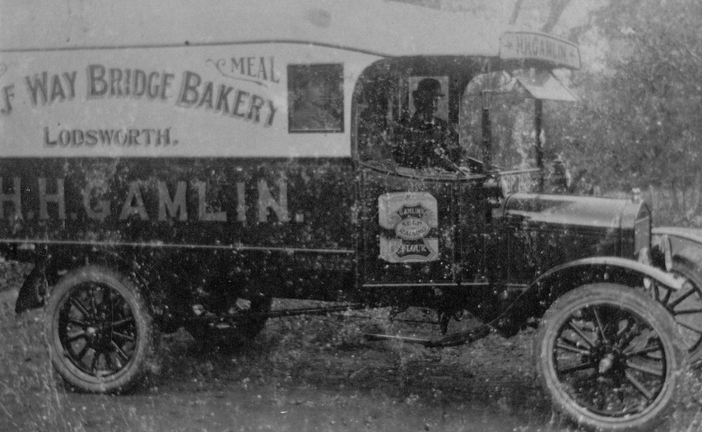 Gamlin Bakery's first delivery van driven by Mr Poat