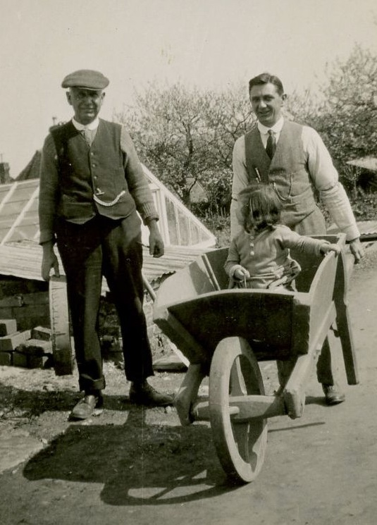 Robert Budd, Arthur & Audrey Chandler by greenhouse in the Old Nursery c1925