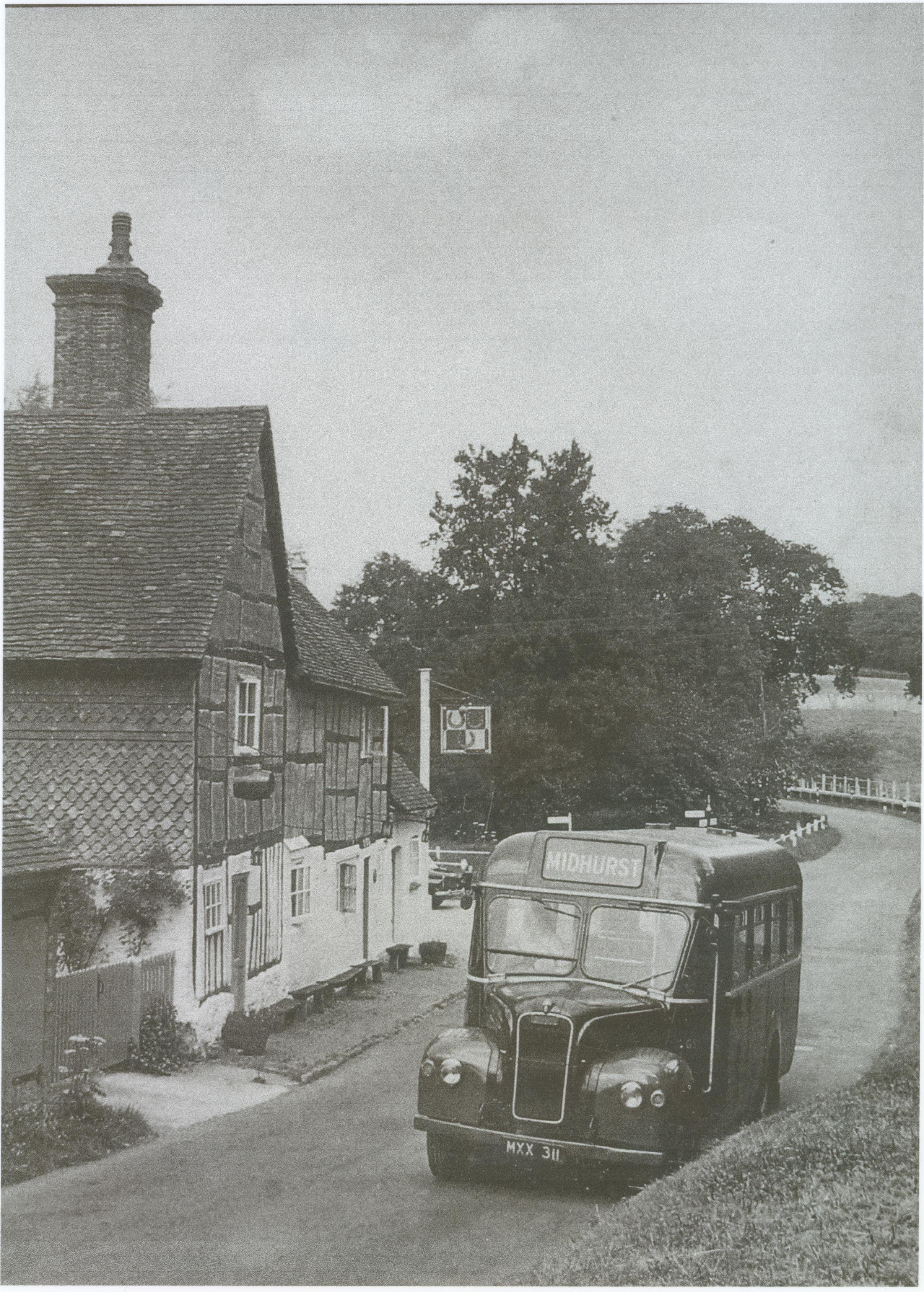 Southern Motorways' bus at Lickfold 1966