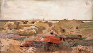 A Camouflaged Quarry between Chérisy and Hendecourt by Chrles Sims (IWM)