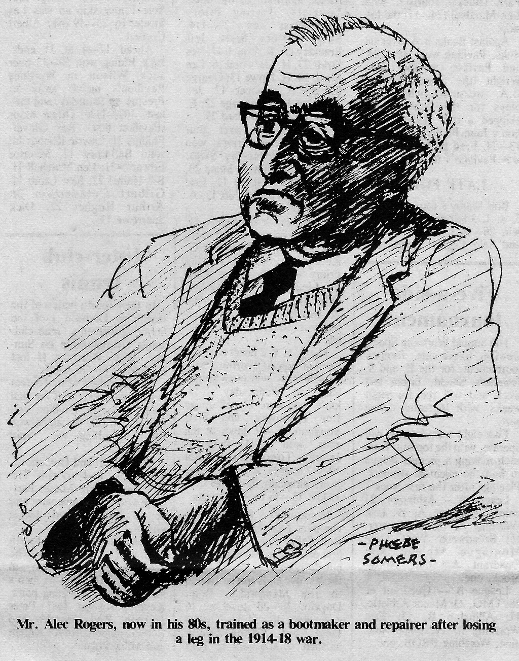 Drawing by Phoebe Somers, published in local newspaper about 1977