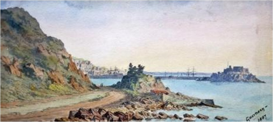 Watercolour of St Peter Port and Castle Cornet, Guernsey by Rev. Loraine Estridge